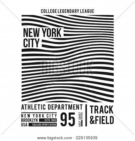 New York Typography For T-shirt Print. Abstract Lines With Text For Modern Tee Shirt Graphics In Var