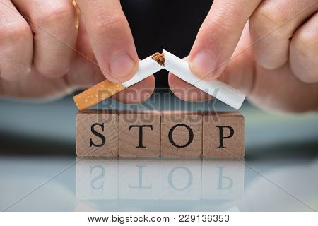 Person Quitting Smoking