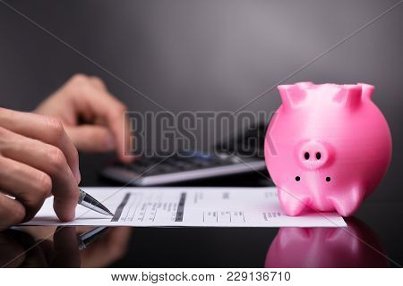 Pink Piggy Bank Upside Down Besides Businessperson Calculating Invoice
