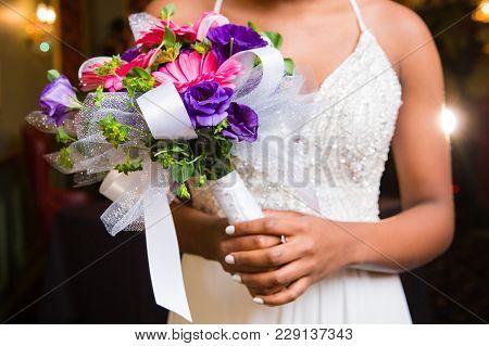 Pink Gerbera Handited Bouquet For Prom