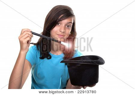 Teenage Girl With Magic Wand And Hat
