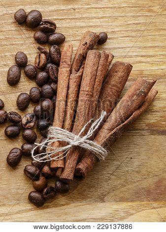 Coffee Bean And Cinnamon Stick Wood Texture