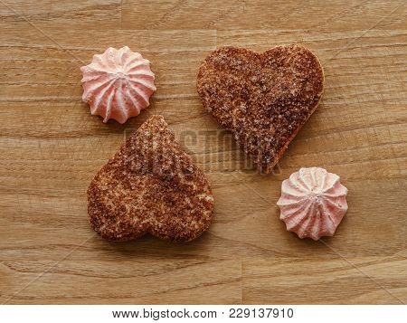 Meringue, Cinnamon Hearts Cookies Wood Texture Table