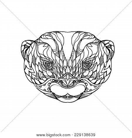 Doodle Art Illustration Of Head Of Oriental Small-clawed Otter, Asian Small-clawed Otter Or Small-cl