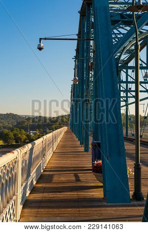 The Old Walnut Street Bridge In Chattanooga, Restored As A Pedestrian Crossing Over The Tennessee Ri