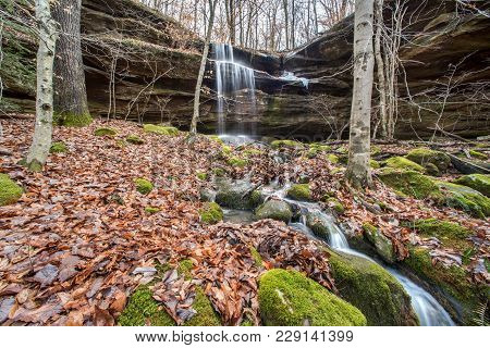 A Waterfall In The Central Kentucky Wilderness.