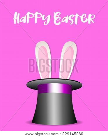 Happy Easter Greeting Card  With Cartoon White Lettering, Pink Bunny Or Rabbit Ears Sticking Out Of
