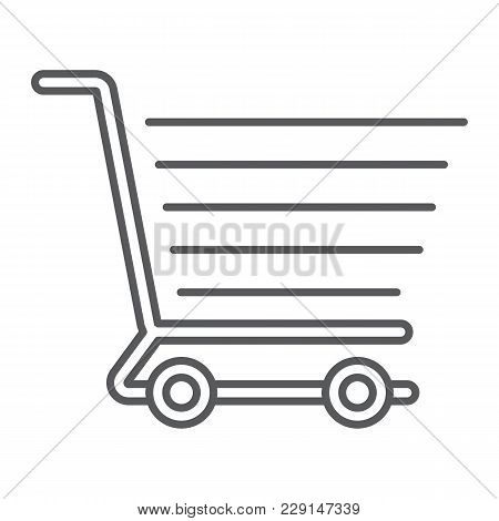 Shopping Cart Thin Line Icon, E Commerce And Store, Food Retail Sign Vector Graphics, A Linear Patte