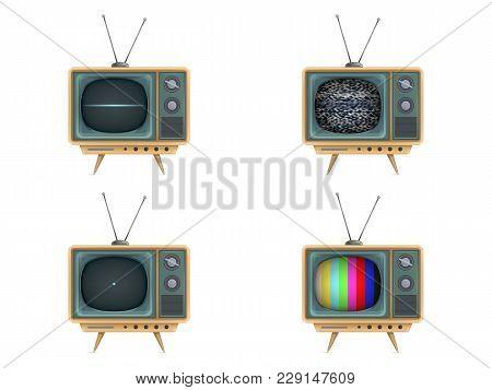 Vector Illustration Of Vintage Tv Set, Television. Turning On, Off, White Noise, Test Card, Start-up