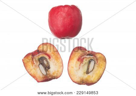 Macro Closeup Heteromeles Arbutifolia Toyon Fruit And Cross-section Isolated On White
