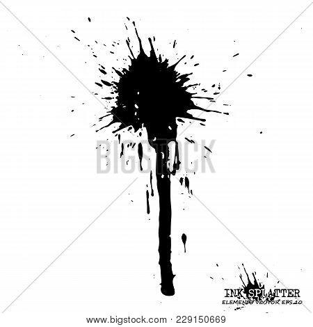 Ink Splatter Elements On White Background . Vector .