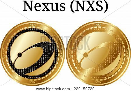 Set Of Physical Golden Coin Nexus (nxs), Digital Cryptocurrency. Nexus (nxs) Icon Set. Vector Illust