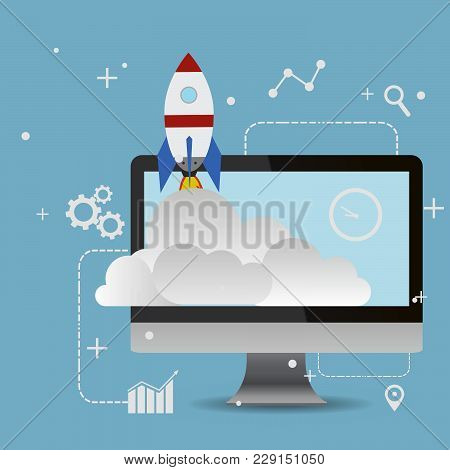 Start Up Flat Rocket Concept Vector Design Eps 10