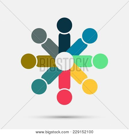 Abstract Colorful People In A Circle,teamwork Meeting,people Are Meeting In The Room.