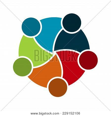 Group Of Five People In A Circle.teamwork Meeting.people Are Meeting In The Room.powerful Combined F
