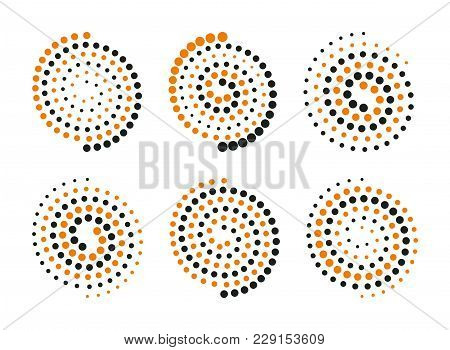 Abstract Spiral Logo Set. Vector Swirl Logotype Collection. Vortex Shapes Induction Symbol