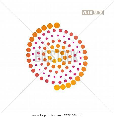 Spiral Logo Shaft Of Sunlight Symbol. Vortex Hot Dots Logotype Isolated Vector Illustration