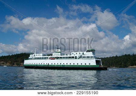 Ferry Boat Underway On Puget Sound, Washington.