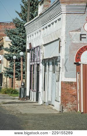 Store Fronts On Weekend While All Stores Are Closed In This Small Town.