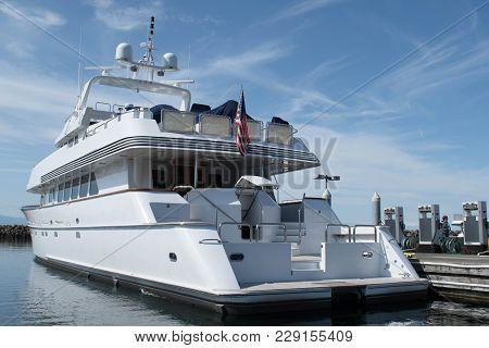 Megayacht At The Dock At Shilshole Marina