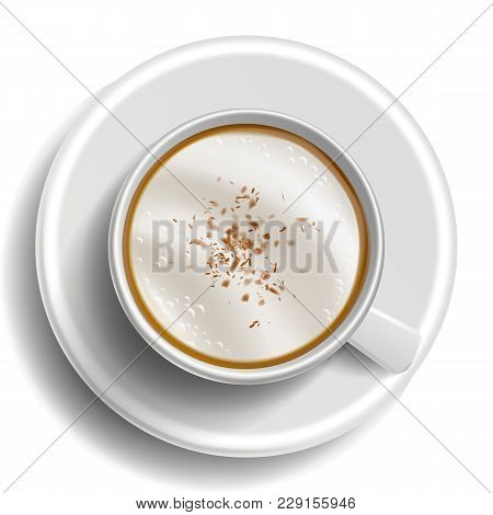 Coffee Cup Vector. Top View. Hot Latte Coffee. Milk, Espresso. Whipped Fast Food Cup Beverage. White