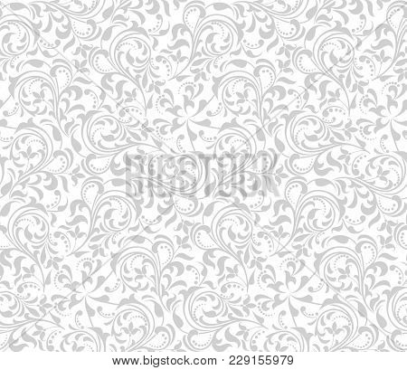 Wallpaper In The Style Of Baroque. A Seamless Vector Background. Gray And White Texture. Floral Orna