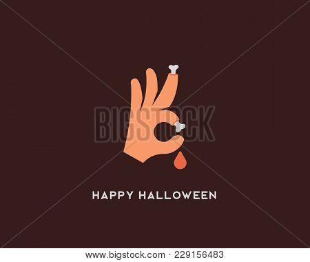 Halloween Bones Vector Sign. Trick Or Treat Ok Symbol Icon. Humor Optimism Card Greeting Logo.