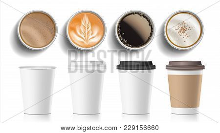Coffee Cups Top View Vector. Plastic, Paper White Empty Fast Food Take Out Coffee Menu Mugs. Various