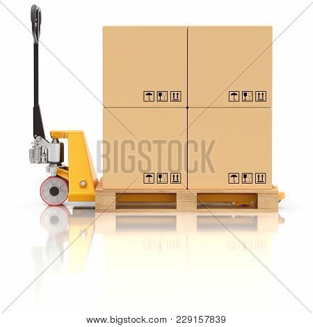 Pallet Jack With Wooden Pallet And Boxes - 3d Illustration