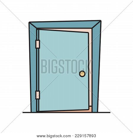 Slightly Open, Ajar Door, Symbol Of Business Opportunity, Welcome Icon, Flat Cartoon Vector Illustra