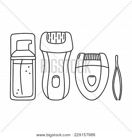 Hair Removal, Depilation Set - Electric Epilator, Tweezers And Moisturizing Lotion, Hand-drawn Icon,