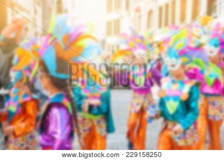 Abstract Blurry Background Colorful Of Carnival Parade Of The World, Traditional Festival Present Wi