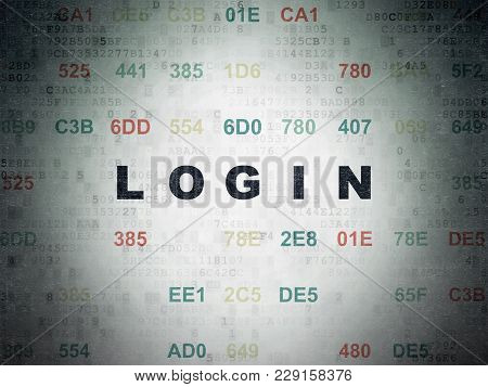 Security Concept: Painted Black Text Login On Digital Data Paper Background With Hexadecimal Code