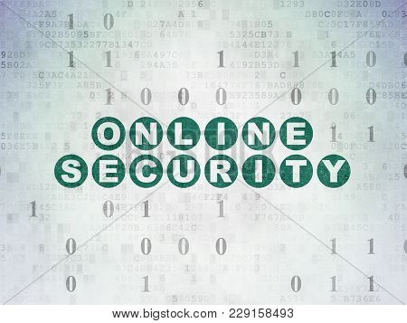 Privacy Concept: Painted Green Text Online Security On Digital Data Paper Background With Binary Cod