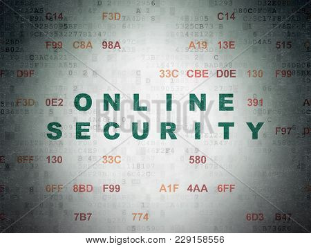 Protection Concept: Painted Green Text Online Security On Digital Data Paper Background With Hexadec