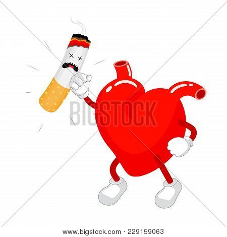Cute Cartoon Heart Fight With Cigarette. Health Care Concept. Vector Illustration Isolated On White