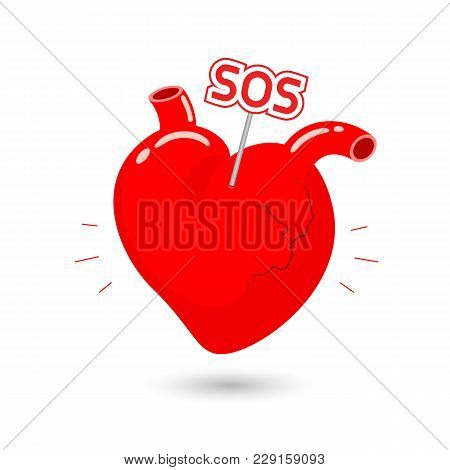 Human Heart Symbol With Sos Sign. Internal Organ Requires Care Or Medical Treatment Due To Disease O