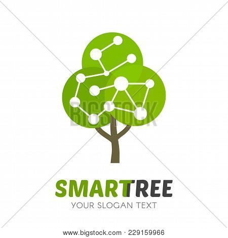 Abstract Tree Network Connection Isolated Logo. Education Logotype Template. Eco Global Connection