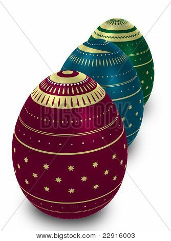 Three Ornate Eggs