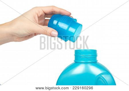 Blue Plastic Liquid Detergent Bottle With Hand. Isolated On White Background. Laundry Container, Mer