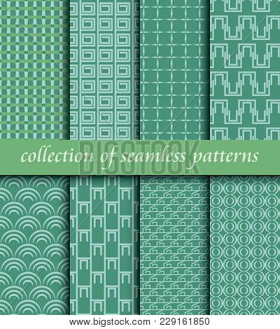 Set Of Art Deco Seamless Patterns. Stylish Modern Textures. Vector Abstract Backgrounds