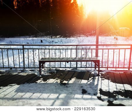 Railroad Station Bench With Dramatic Light Leak Background Hd