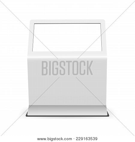 Digital Touch Screen Mockup Isolated On White Background - Front View. Advertising Display With Blan