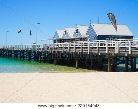 Busselton, Western Australia - January 13: Busselton Jetty On A Sunny Day With Tourists In Front Of