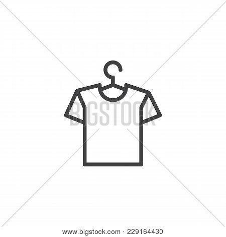 Hanger With Shirt Outline Icon. Linear Style Sign For Mobile Concept And Web Design. T-shirt On A Ha