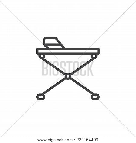 Ironing Board Outline Icon. Linear Style Sign For Mobile Concept And Web Design. Iron Board Simple L