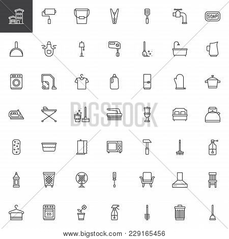 Household Elements Outline Icons Set. Linear Style Symbols Collection, Line Signs Pack. Vector Graph