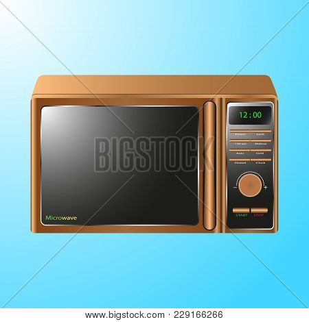 Vector Illustration Realistic Microwave Isolated On Blue Background, Appliances