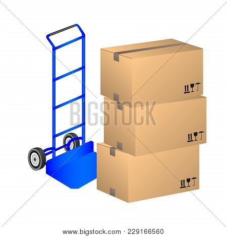 Vector Illustration Handcart And Carton Boxs On A White Background