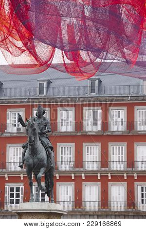 Plaza Mayor Square With Sculpture. Spanish Architectural Heritage. Madrid, Spain